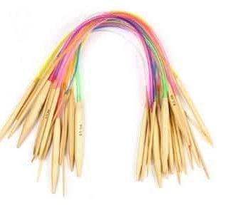 Set med 18 st. rundstickor 40 cm i finaste bambu