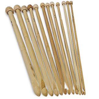 N011 - Set med 12 st. tunisiska virknålar i finaste bambu